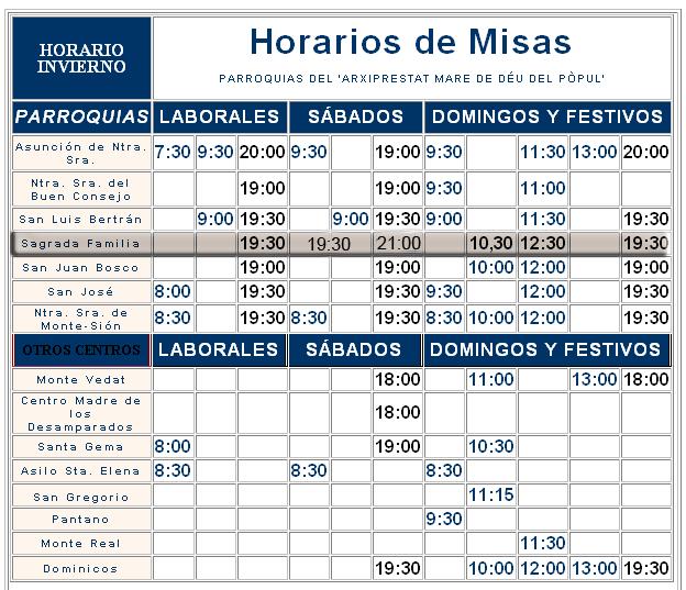 Horario de misas en torrent for Horario oficina adeslas